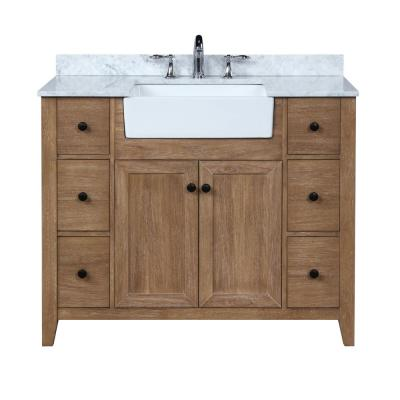 Sally 42 in. Single Bath Vanity in Ash Brown with Marble Vanity Top in Carrara White with Farmhouse Basin