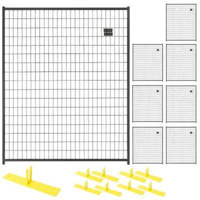 6 ft. x 40 ft. 8-Panel Black Powder-Coated Welded Wire Temporary Fencing