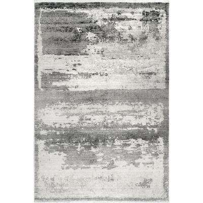 Vintage Ruth Abstract Fringe Gray 2 ft. 6 in. x 8 ft. Runner Rug