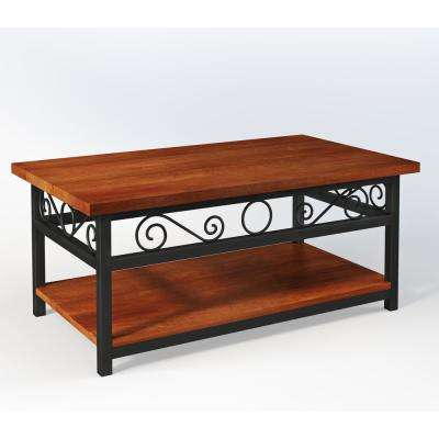 Artesian Brown Scrollwork Coffee Table with Chestnut Finish Top