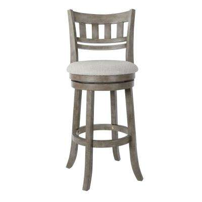 Swivel Stool 30 in. Antique Grey with Slatted Back