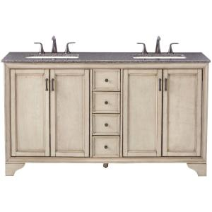 Home Decorators Collection Hazelton 61 inch W x 22 inch D Double Bath Vanity in Antique... by Home Decorators Collection