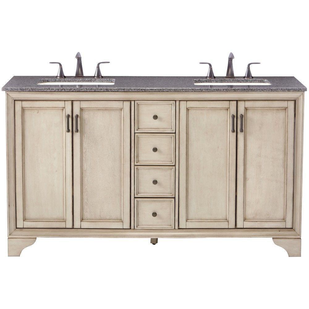 Hazelton 61 in. W x 22 in. D Double Bath Vanity in Antique Grey with Granite Vanity Top in Dark Grey