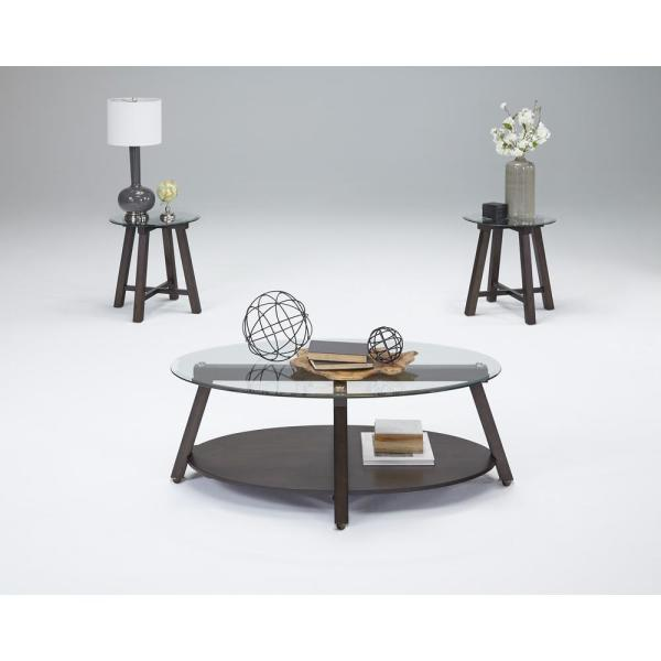 Progressive Furniture Royden Dark Poplar Tail Table With Casters And 2 End Tables 3