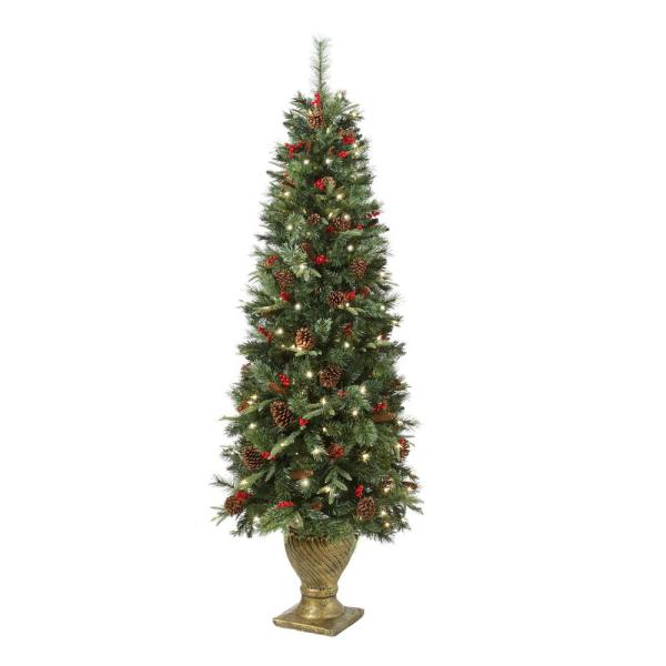 Home Accents Holiday 6 5 Ft Paces Hill Pine Potted Pre Lit Artificial Christmas Tree With 200 White Lights Ty78 797 200lr The Home Depot