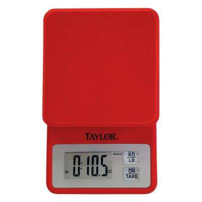 Digital Compact Kitchen Scale in Red
