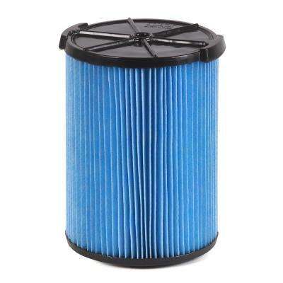 3-Layer Fine Dust Pleated Paper Filter for 5.0 Plus Gal. RIDGID Wet Dry Vacs