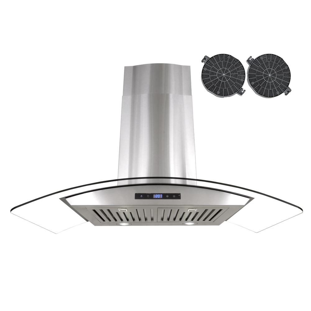 Cosmo 36 in. Ductless Wall Mount Range Hood in Stainless ...