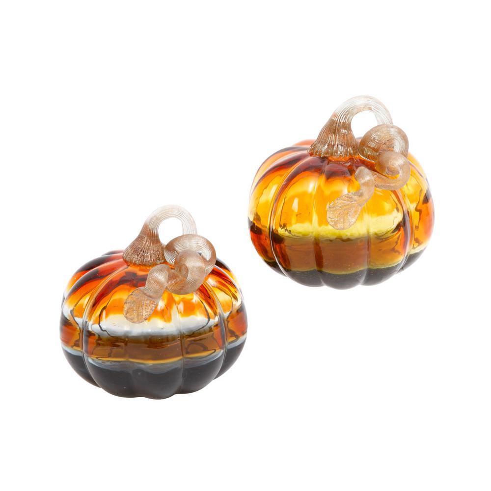 5.3 in. H Asst Glass Verigated Color Pumpkins