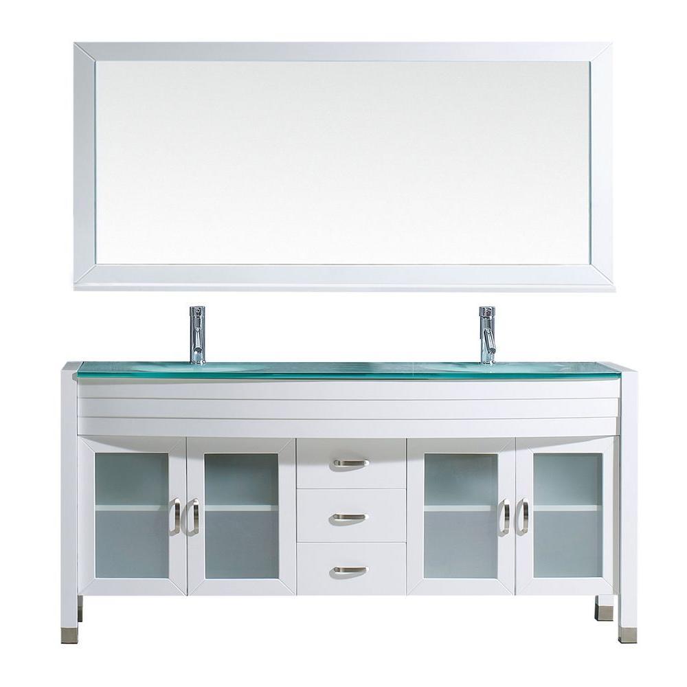 Virtu Usa Ava 71 In W Bath Vanity In White With Glass