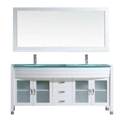Ava 71 in. W x 21.7 in. D Vanity in White with Glass Vanity Top with Aqua Basin and Mirror