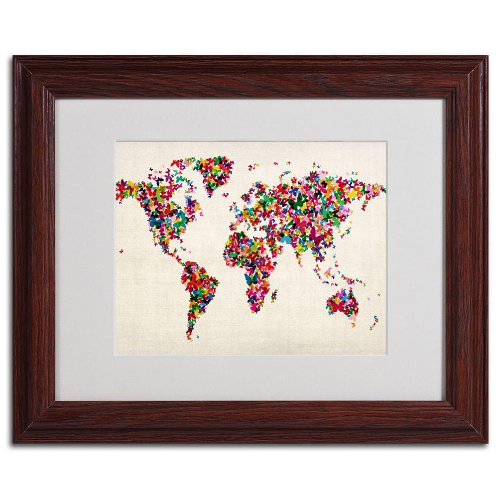 Trademark Fine Art 11 In X 14 In Butterfly World Map Framed Matted