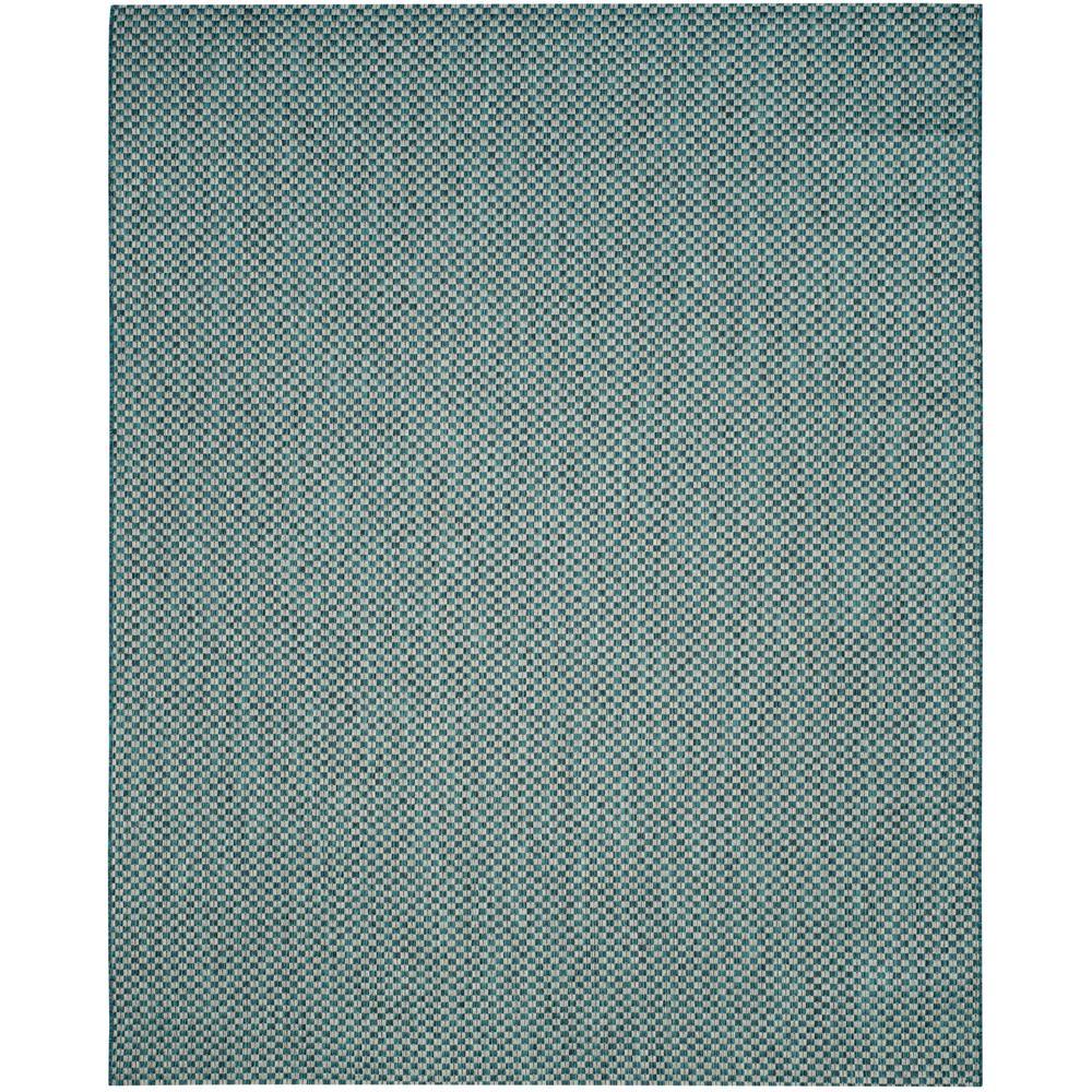 Courtyard Turquoise/Light Gray 9 ft. x 12 ft. Indoor/Outdoor Area Rug