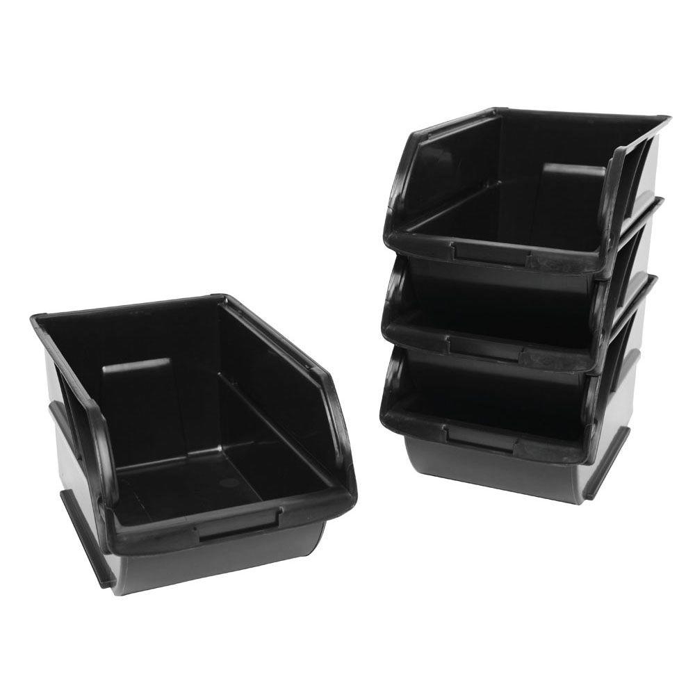 PLASTIC STORAGE BIN CONTAINERS (4 Pack) Boxes Garage Tools Nails Organizer  Cubes 761768378106 | EBay