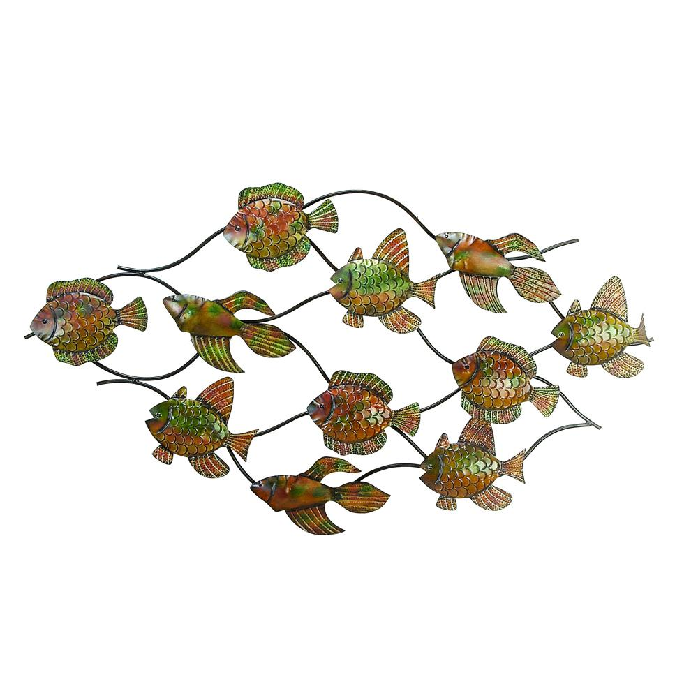 Iron Bronze School of Fish Wall Decor