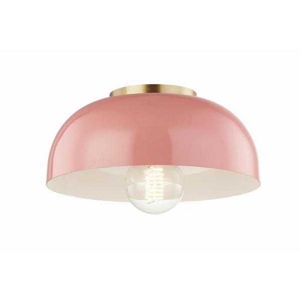 Avery 1-Light 11 in. W Aged Brass Semi-Flush Mount with Pink Metal Shade
