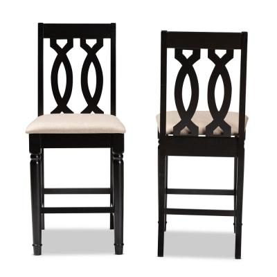 Darcie 43 in. Sand and Espresso Counter Stool (Set of 2)