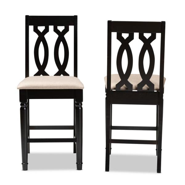 Baxton Studio Darcie 43 in. Sand and Espresso Counter Stool (Set of 2)