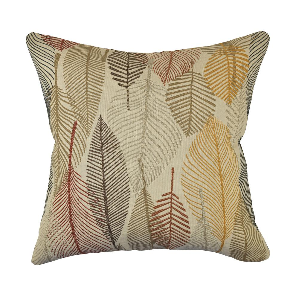 Vesper lane tan and rustic leaves woven throw pillow