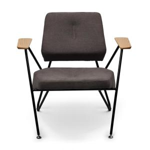 Margot Mordern Grey Upholstered Seat with Metal Legs and Solid Wood Armrests Accent Chair