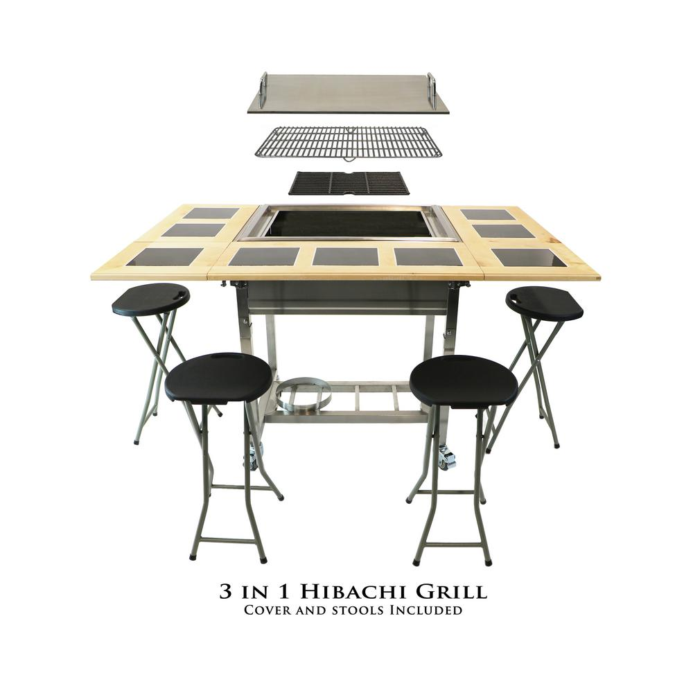 My Hibachi Bbq Outdoor 3 In 1 Sit Around Propane Grill W Flat