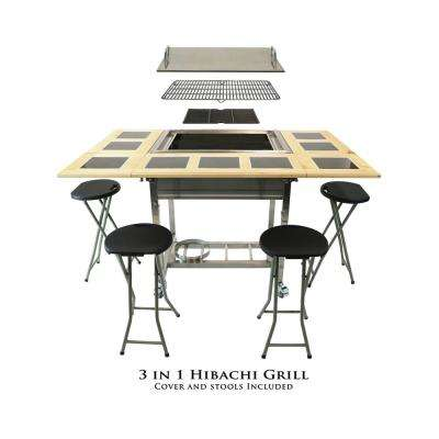 Outdoor 3-in-1 Sit Around Propane Grill w/ Flat Top Teppanyaki Griddle, BBQ Rack & Cast Iron Grill
