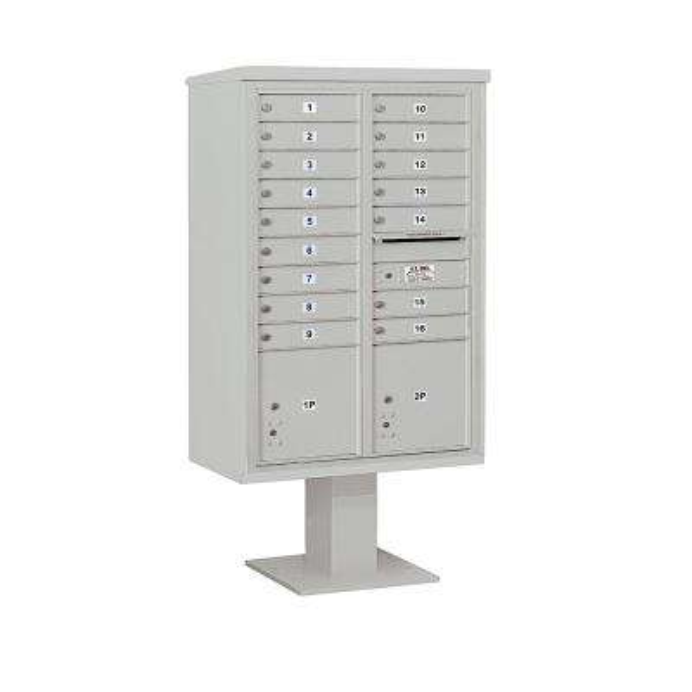 3400 Horizontal Series 16-Compartment 2-Parcel Locker Pedestal Mount Mailbox