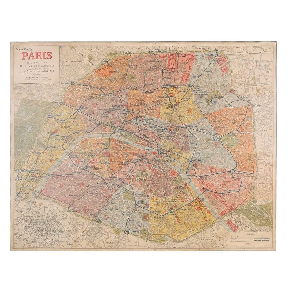 """Home Decorators Collection 48 in. x 61 in. """"Rue Nouveau City Map"""" Canvas Wall Art"""