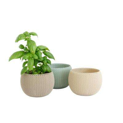 5 in. Dia Cozies Trio Knit Resin Pots (3-Pack)