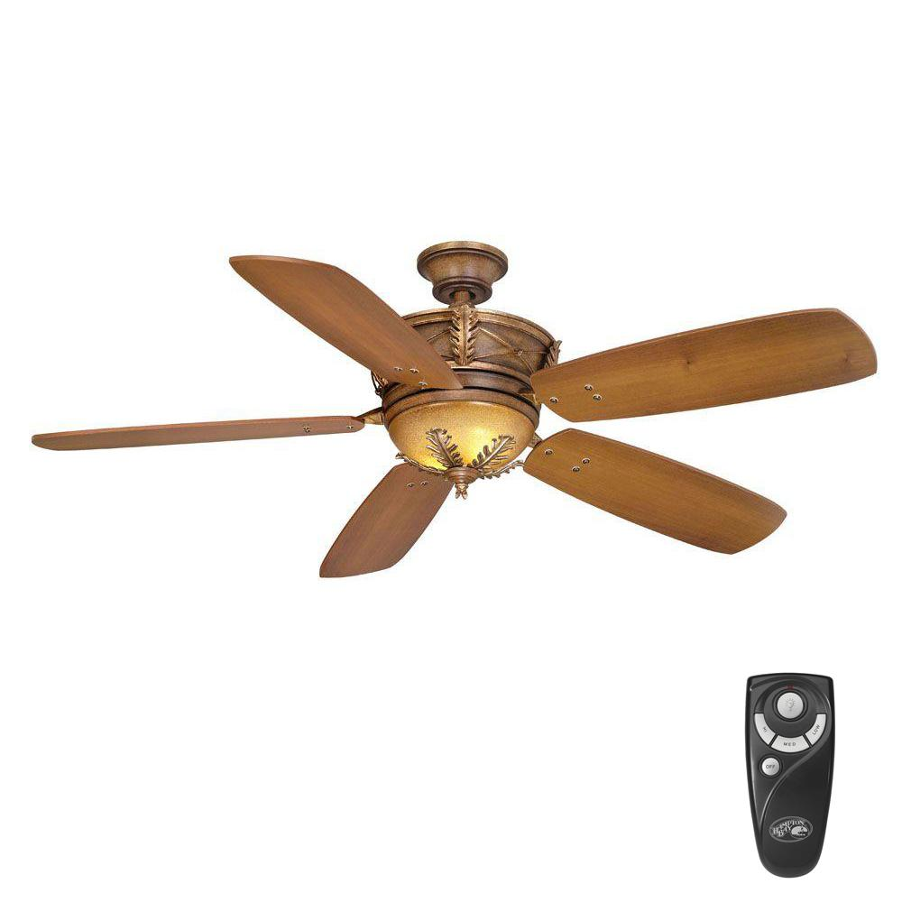 hampton bay eden lake 54 in indoor distressed walnut ceiling fan with light kit and