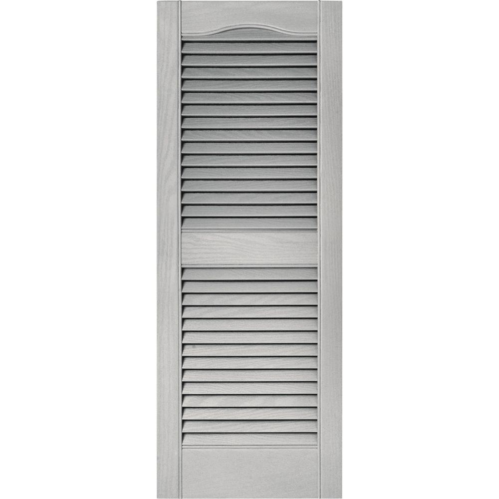 Great Louvered Vinyl Exterior Shutters Pair In #