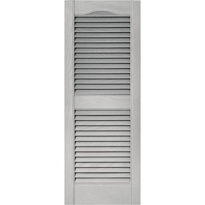 15 in. x 39 in. Louvered Vinyl Exterior Shutters Pair in #030 Paintable