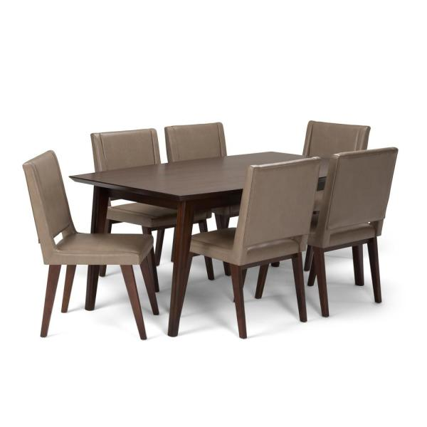 712372695f Draper 7-Piece Dining Set with 6 Upholstered Dining Chairs in Ash Blonde  Leather and 66 in. Wide Table