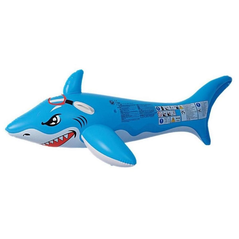 Pool central 71 in blue and white shark rider inflatable - Amazon inflatable swimming pool toys ...