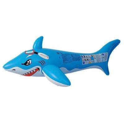71 in. Blue and White Shark Rider Inflatable Pool Float with Handles