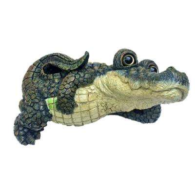 Toad Hollow 13 in. W Large Lying Whimsical Gator Home and Garden Alligator Statue