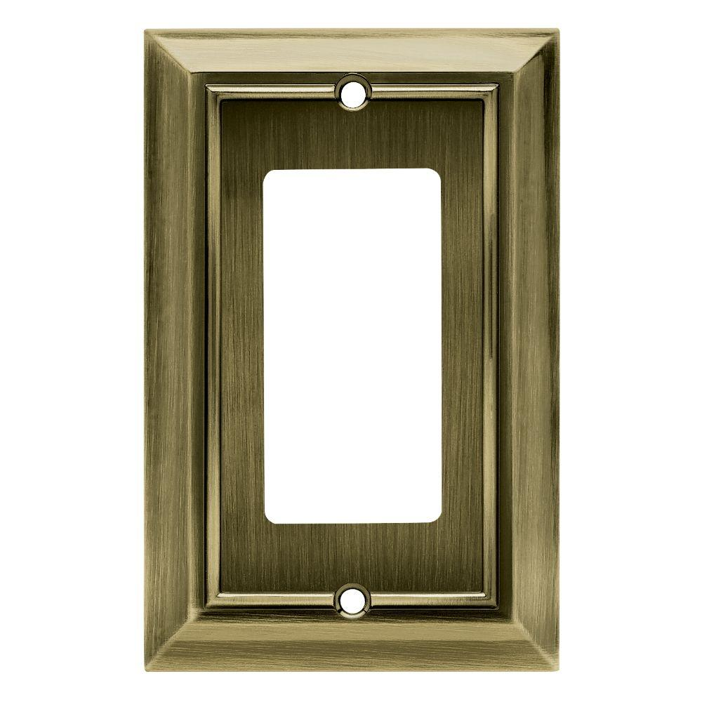 Hampton Bay Architectural Decorative Single Rocker Switch Plate, Antique Brass