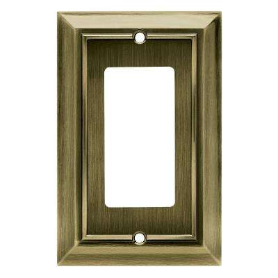 Architectural Decorative Single Rocker Switch Plate, Antique Brass