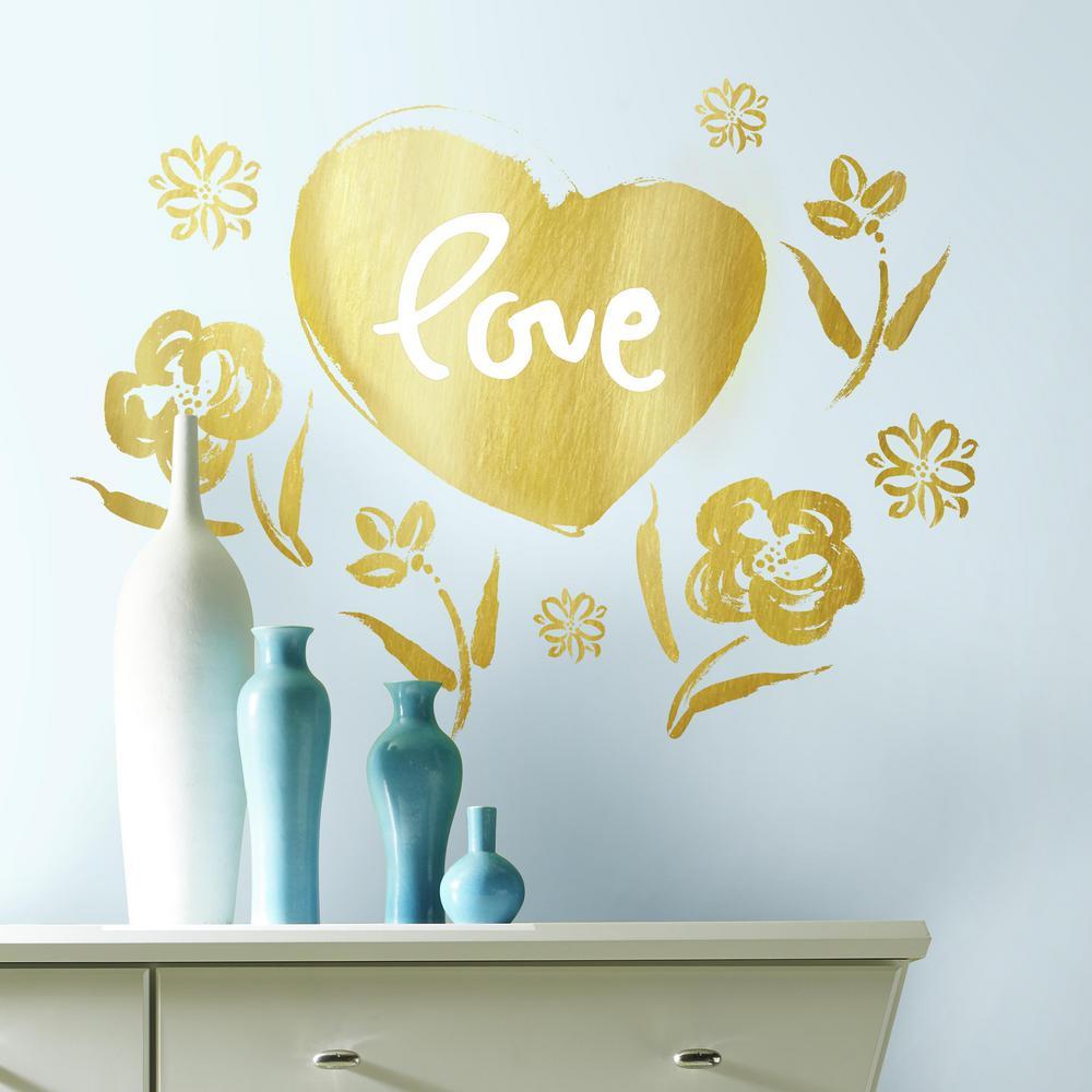 RoomMates 5 in. x 19 in. Kathy Davis Love Heart Gold Foil 9-Piece ...