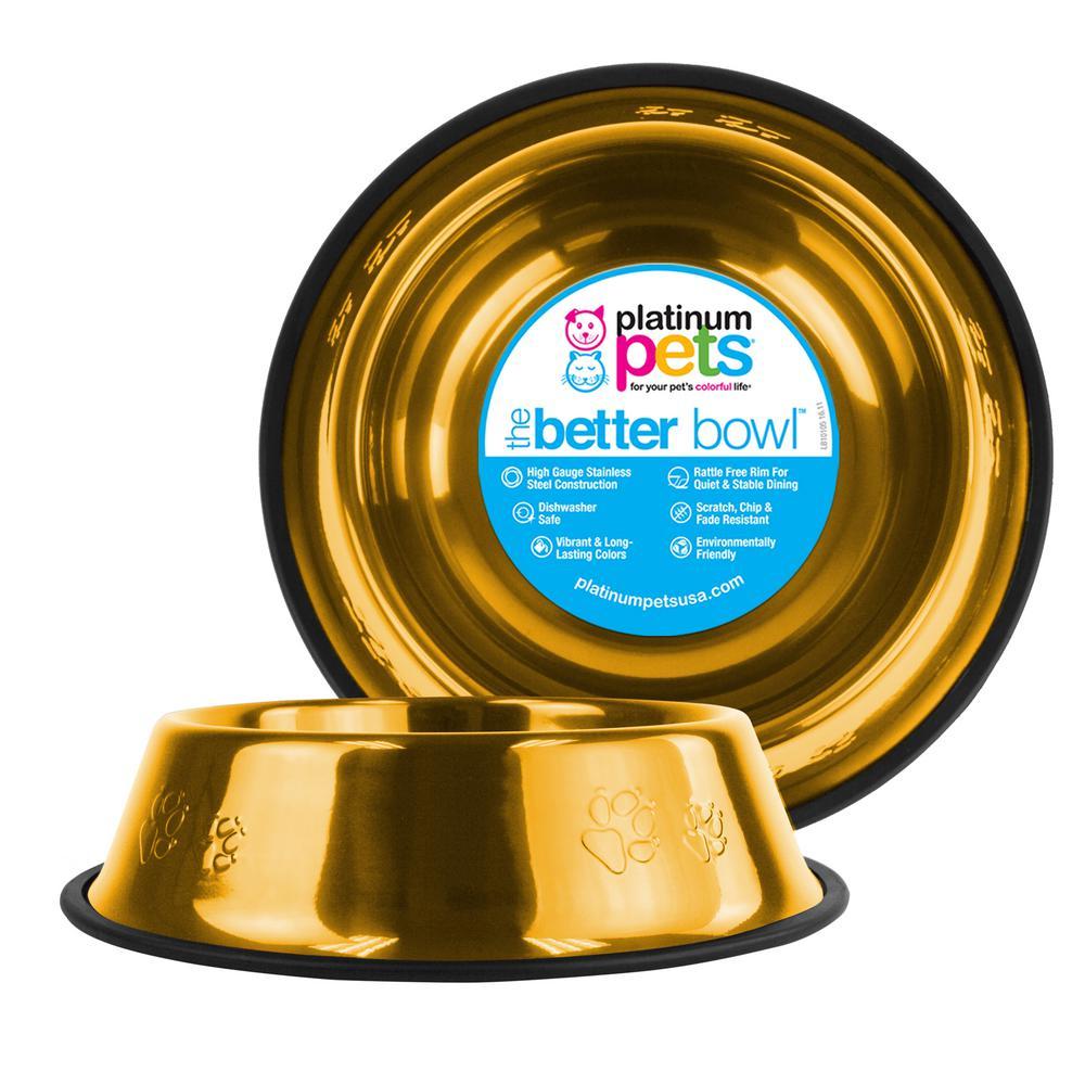 Platinum Pets Embossed Non-Tip Stainless Steel Cat/Dog Bowl, 24 Karat Gold
