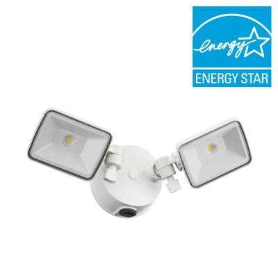 White Outdoor Integrated LED Square Wall Mount Flood Light with Dusk to Dawn Photocell