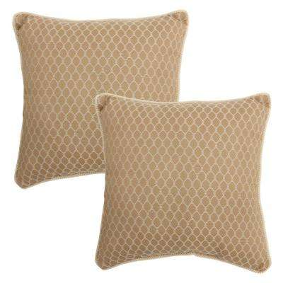 18 in. Harvest Outdoor Toss Pillow with Decorative Rope Trim (2-Pack)