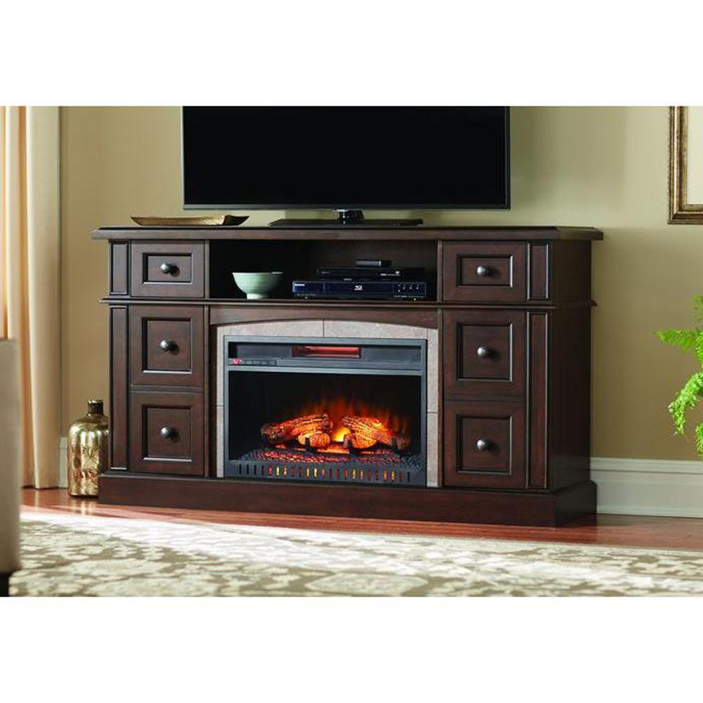 Bring family and friends together with Home Decorators Collection Bellevue Park Media Console Infrared Electric Fireplace in Dark Brown Cherry Finish.