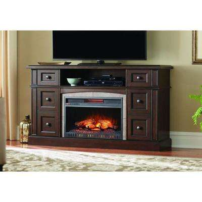 Bellevue Park 59 in. Media Console Infrared Electric Fireplace in Dark Brown Cherry Finish