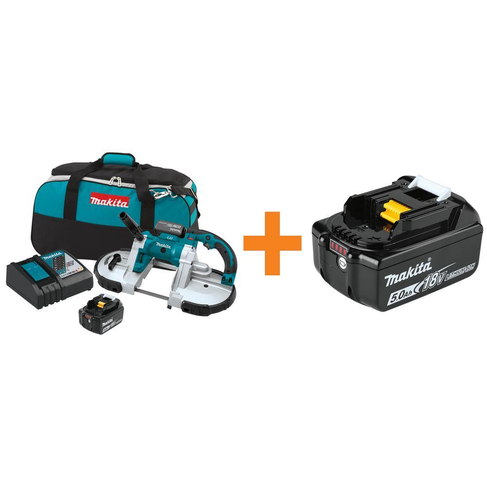 Makita 18-Volt LXT 5.0Ah Lithium-Ion Cordless Portable Band Saw Kit with Bonus 18-Volt LXT Lithium-Ion Battery Pack 5.0Ah