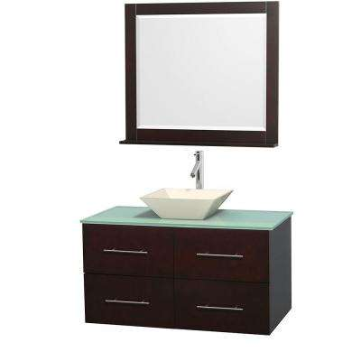Centra 42 in. Vanity in Espresso with Glass Vanity Top in Green, Bone Porcelain Sink and 36 in. Mirror