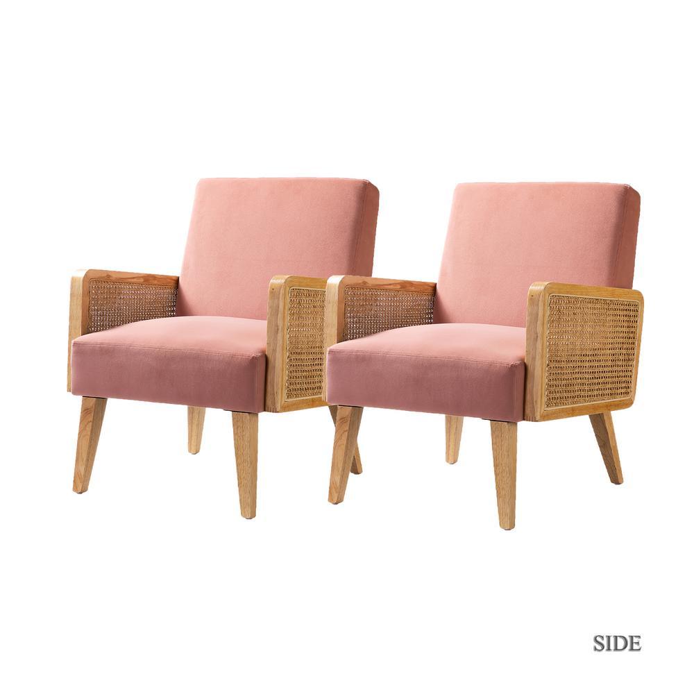 Delphine Blush Cane Accent Chair set of 2