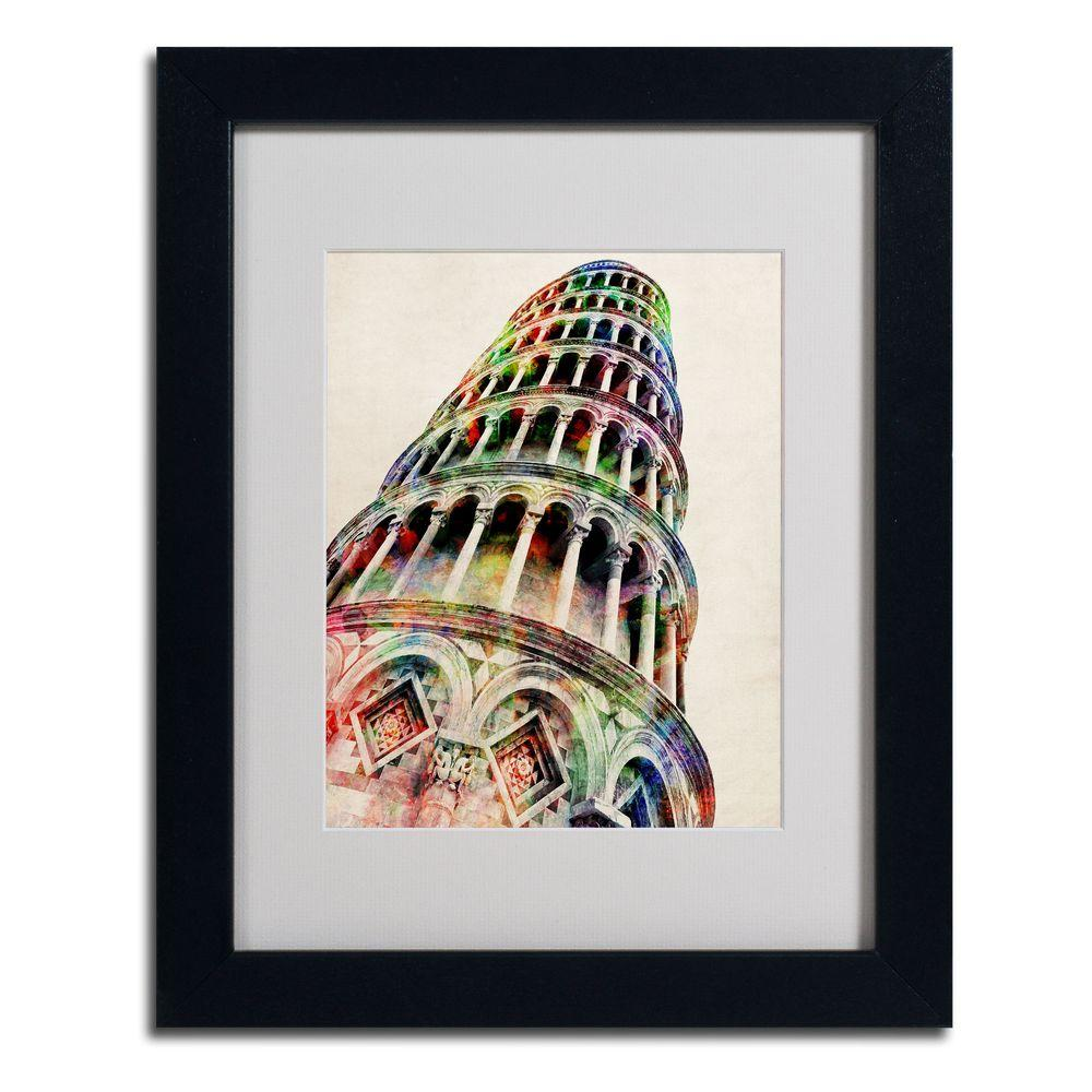 null 11 in. x 14 in. Leaning Tower Pisa Matted Framed Art