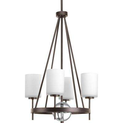 Compass Collection 4-Light Antique Bronze Chandelier with Shade with Opal Etched Glass Shade