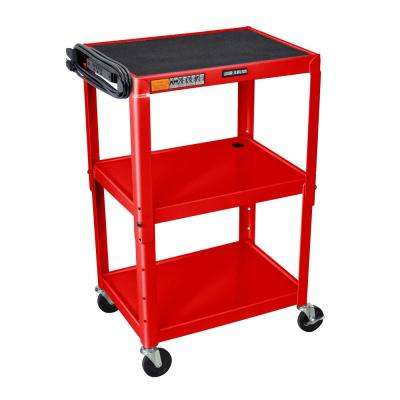 Adjustable Height Steel 24 in. in Utility Cart in Red